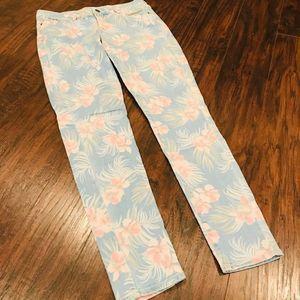 Old Navy pastel floral rockstar skinny jeans